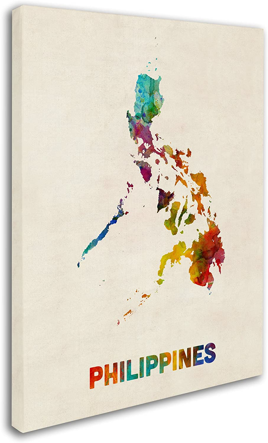 Philippines Watercolor Map By Michael Tompsett 14x19 Inch Canvas Wall Art Posters Prints Amazon Com