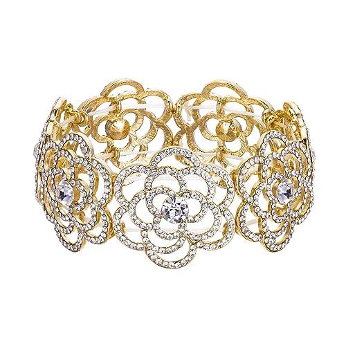 5f7faaefa Amazon.com: BriLove Women's Wedding Bridal Crystal Hollow Flower Tennis Stretch  Bracelet Clear Gold-Toned: Jewelry