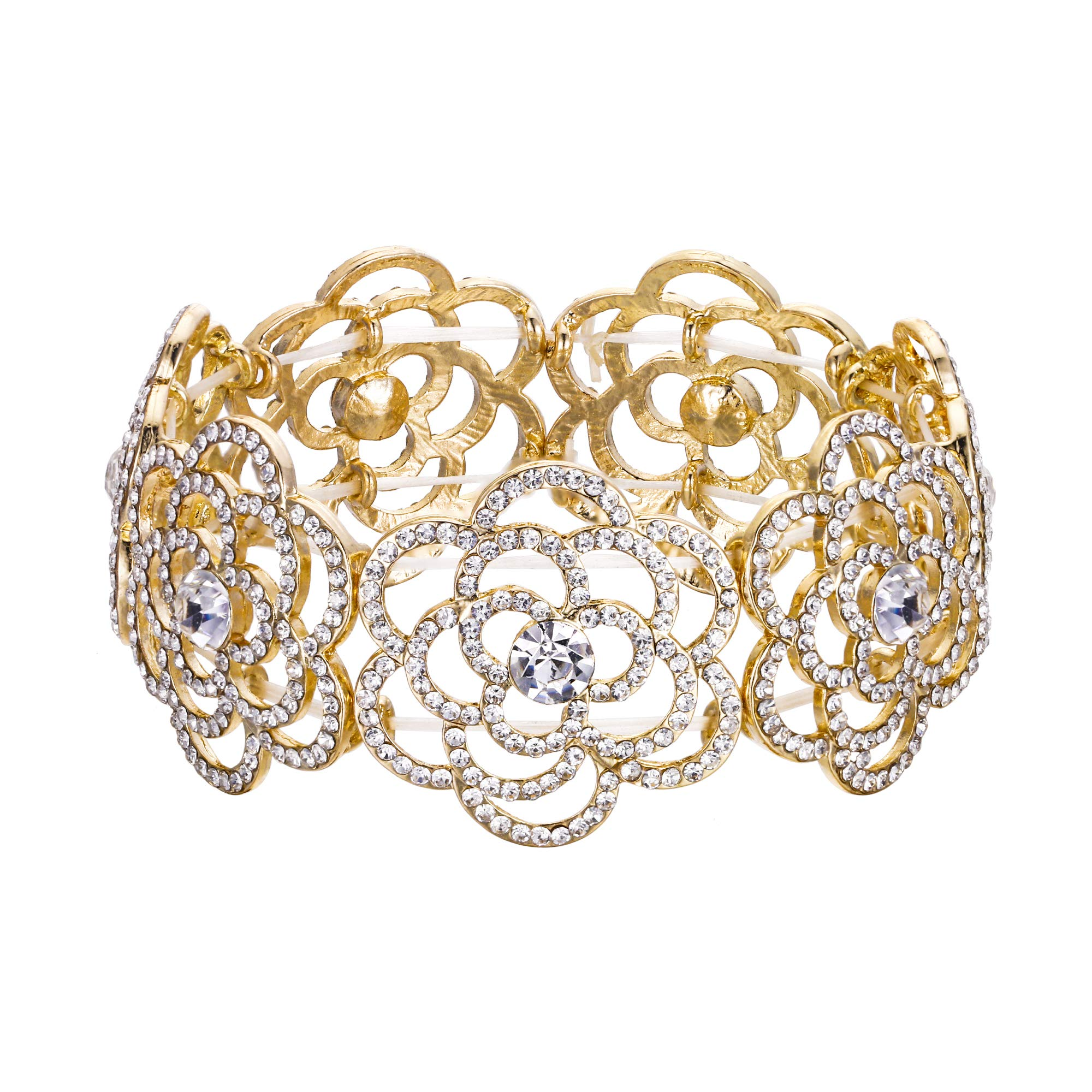 BriLove Women's Wedding Bridal Crystal Hollow Flower Tennis Stretch Bracelet Clear Gold-Toned