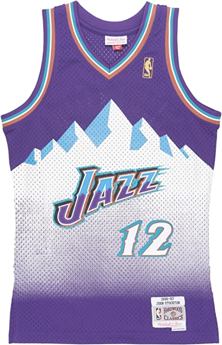 Mitchell /& Ness Utah Jazz NBA John Stockton #12 Name /& Number T-Shirt New