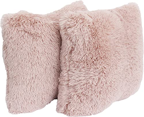 Thro by Marlo Lorenz Faux Fur Throw Pillow, 20×20 Square, Rose Smoke