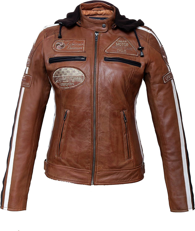 Chaqueta Moto Mujer de Cuero Urban Leather '58 LADIES' | Chaqueta Cuero Mujer | Cazadora Moto de Piel de Cordero | Armadura Removible para Espalda, Hombros y Codos Aprobada por la CE |Tan | L