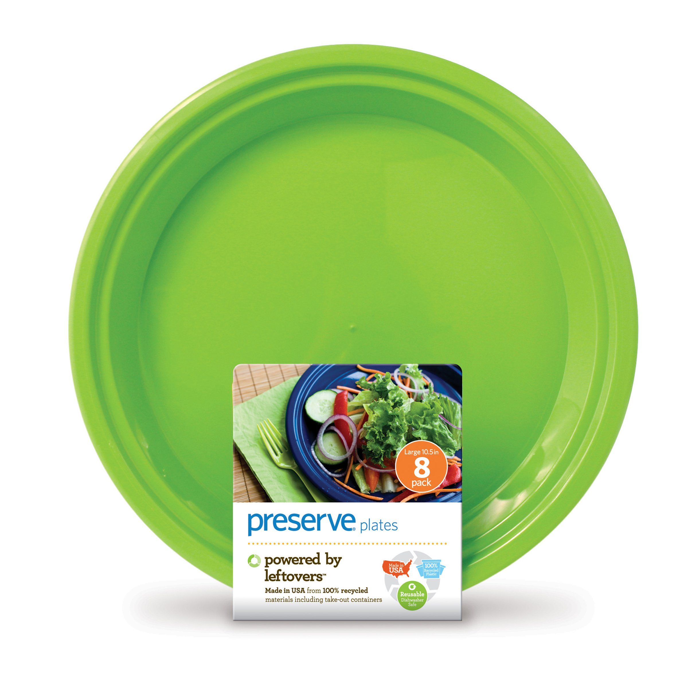 Preserve On the Go Large Plates, Set of 8, Apple Green by Preserve