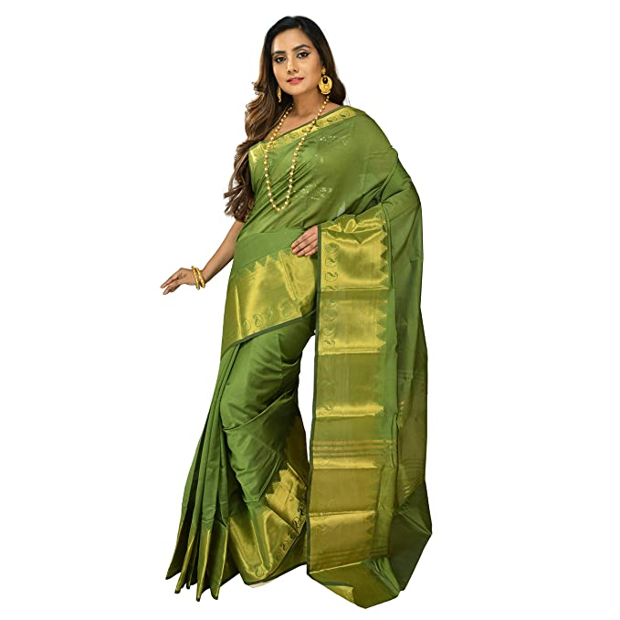 9f44a2afaf02a9 Sarika Women's Embellished Anokhi Silk Saree with Blouse Piece (Dark Green,  Free Size): Amazon.in: Clothing & Accessories