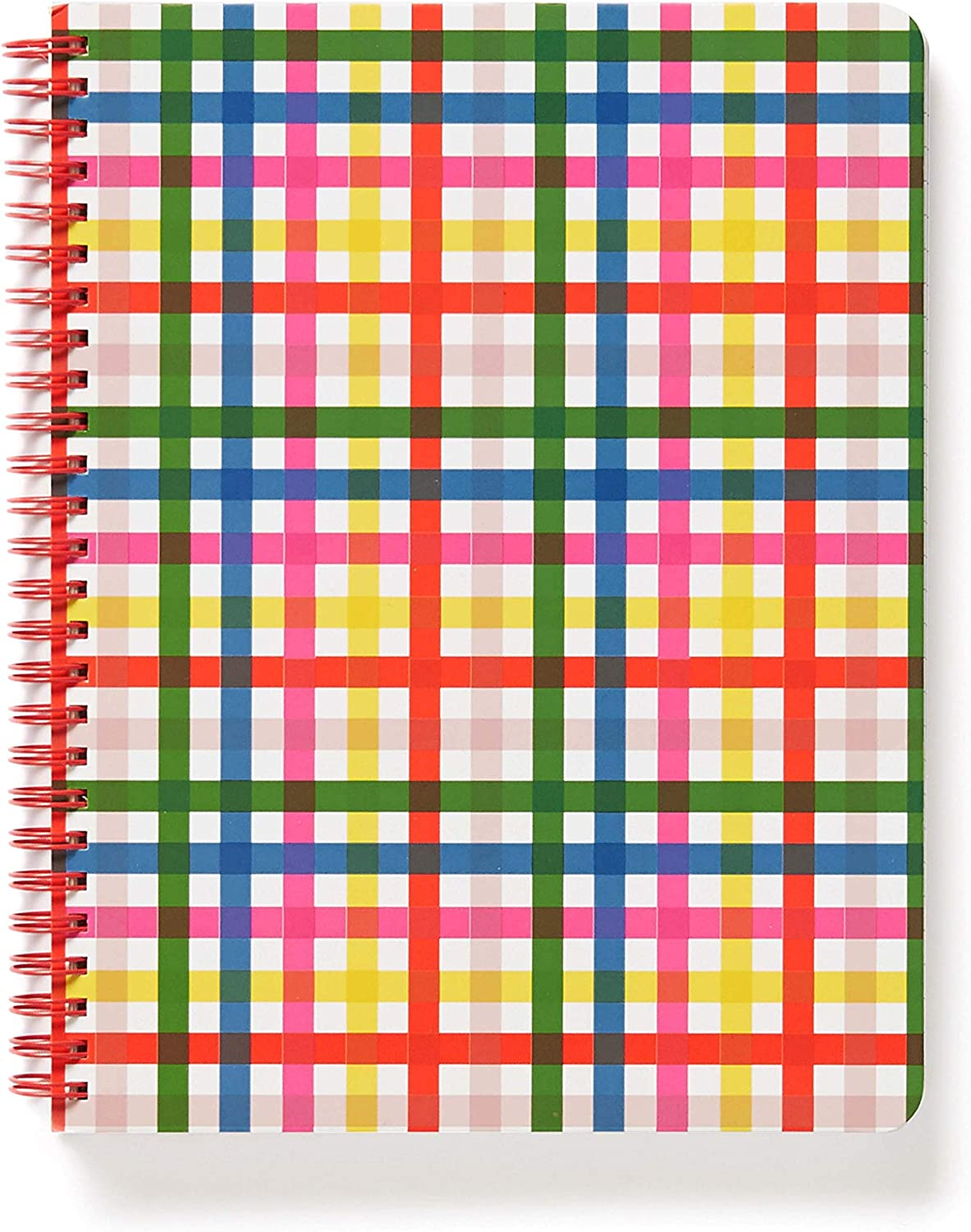 """Ban.do Colorful Plaid Rough Draft Mini Spiral Notebook, 9"""" x 7"""" with Pockets and 160 Lined Pages, Block Party"""