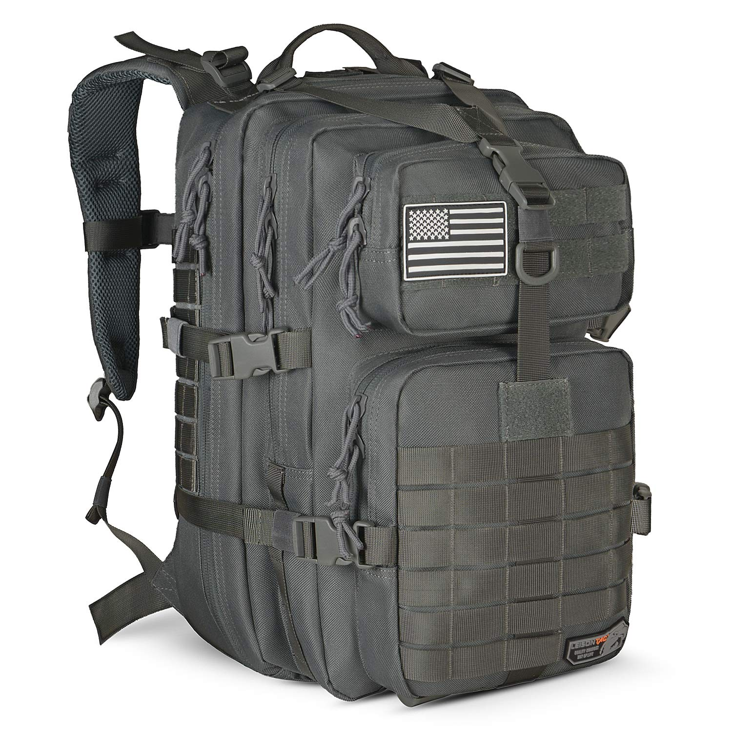 LeisonTac Tactical Backpack Military ISO Standard for Hunting Hiking Travel & Camping   Heavy Duty Nylon Stitching Water Resistant Small Rucksack with Hydration Bladder Compartment (Gray)