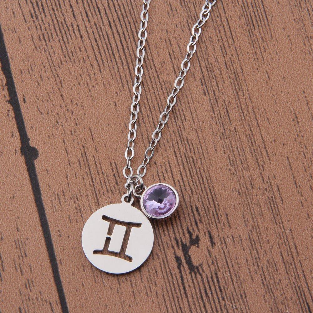 KUIYAI Stainless Steel Zodiac Sign and Birthstone Charm Necklace Bracelet