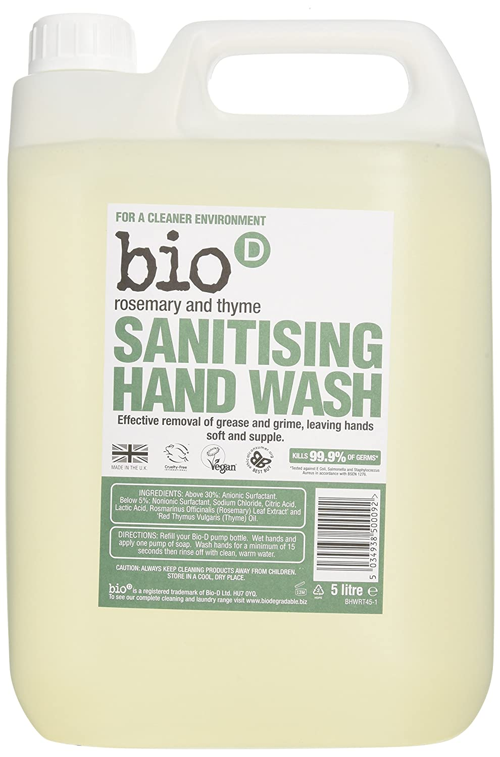 Bio D 5 Litre Rosemary and Thyme Sanitising Hand Wash 85243