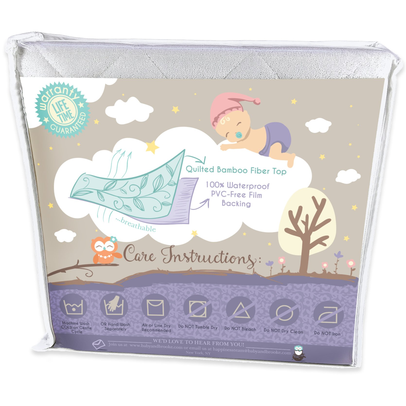 Organic Crib Mattress Cover Pad Waterproof And