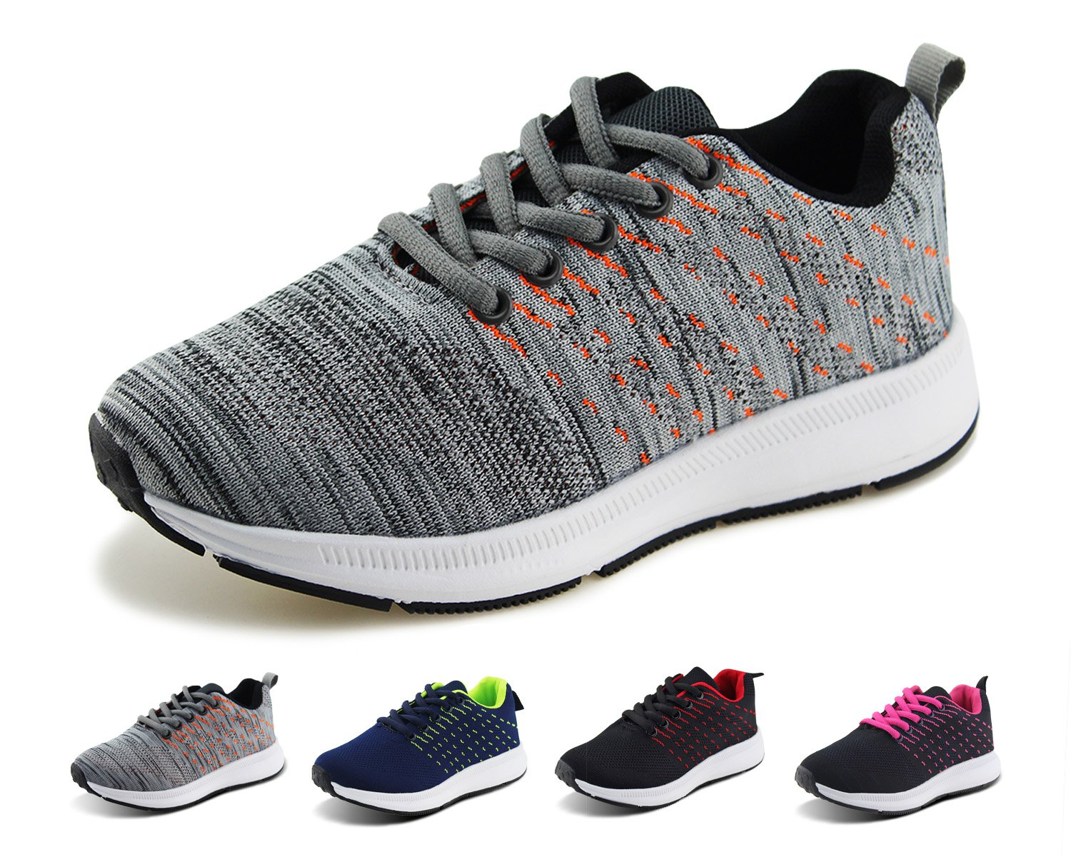 Jabasic Kids Knit Shoes Boys Girls Lightweight Lace Up Trail Running Sneakers(10,G/O)