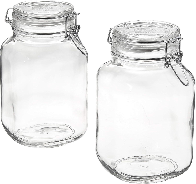 Bormioli Rocco 149240M02121197 Fido Glass Canning Jar Italian 67¾ oz-2 Liter (2 Pack), (Pack of 2), Clear