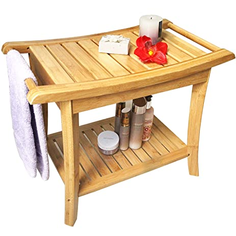 Shower Seat Bench Bathroom Spa Bath Organizer Stool with 2-Tier Storage Shelf Bathtub  sc 1 st  Amazon.com & Amazon.com: Shower Seat Bench Bathroom Spa Bath Organizer Stool ... islam-shia.org
