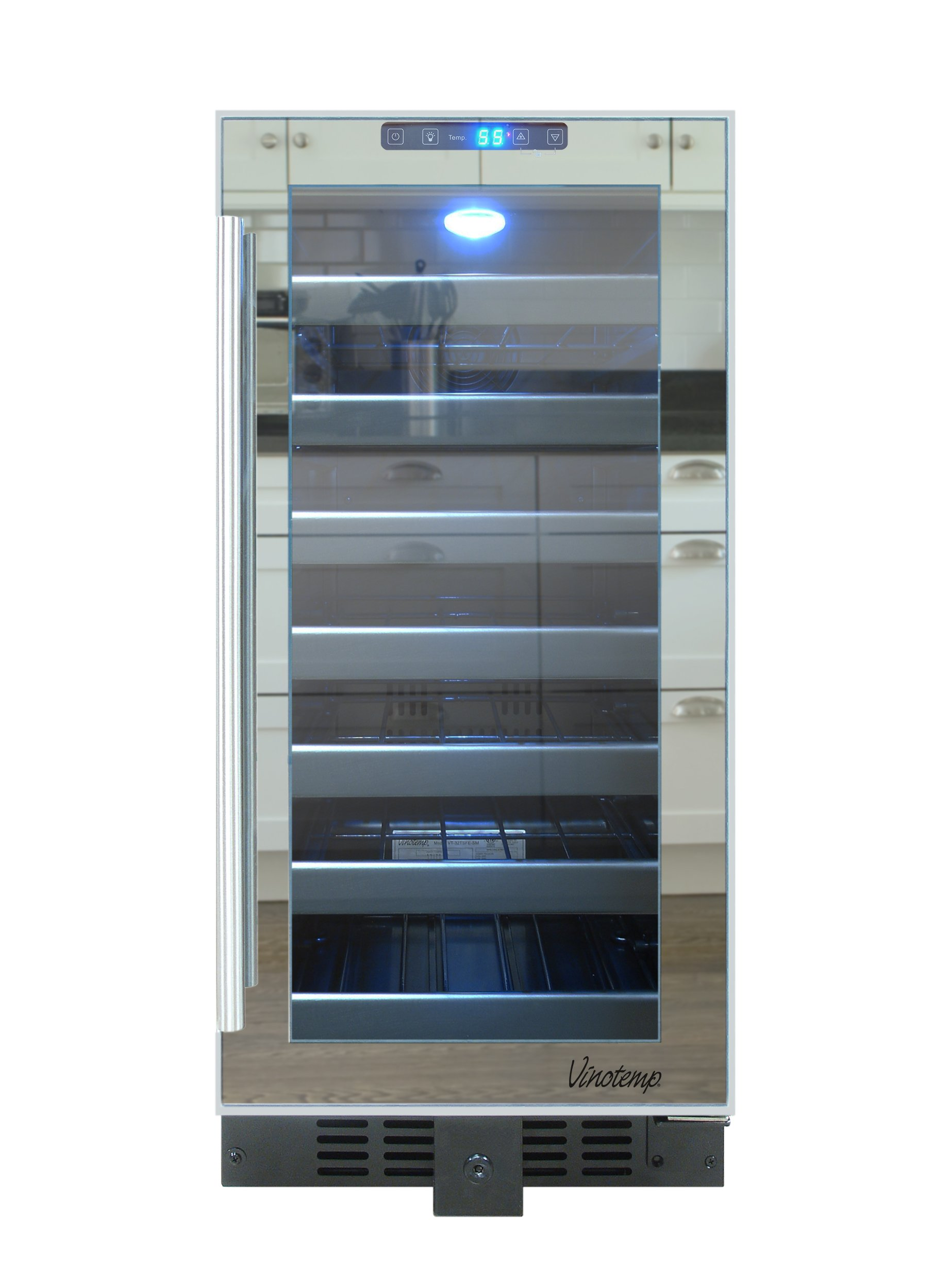 Vinotemp VT-32TSFE-SM 33-Bottle Mirrored Touch Screen Wine Cooler, Black
