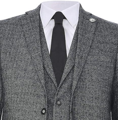 Mens Classic 3 Piece Grey Herringbone Peaky Blinders Tweed Suit