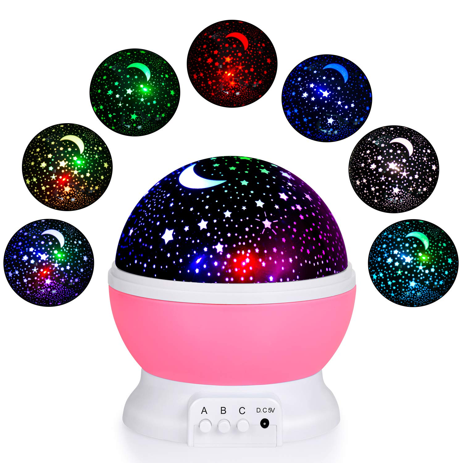 EOMOO Baby Night Lights for kids,Starry Night Light Rotating Moon Stars Projector, 7 Color Options Romantic Night Lighting Lamp, USB Cable/Batteries Powered for Nursery, Bedroom
