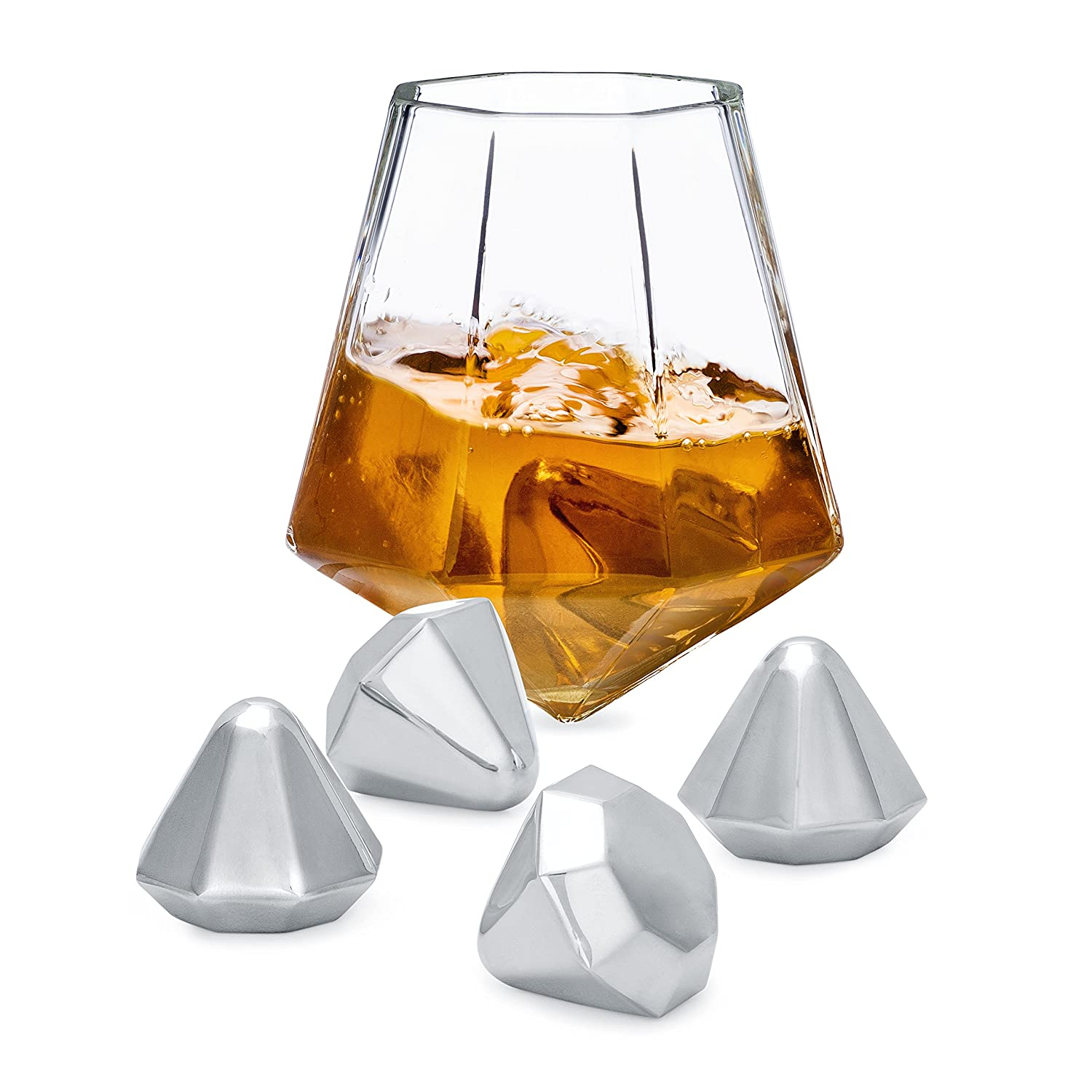 Set of 4 Stones Premium Designer Tumblers and Reusable Stainless Steel Ice Cubes Gift Boxed Set of 2 Glasses Dragon Glassware Diamond Whiskey Glasses and Diamond Chilling Stones