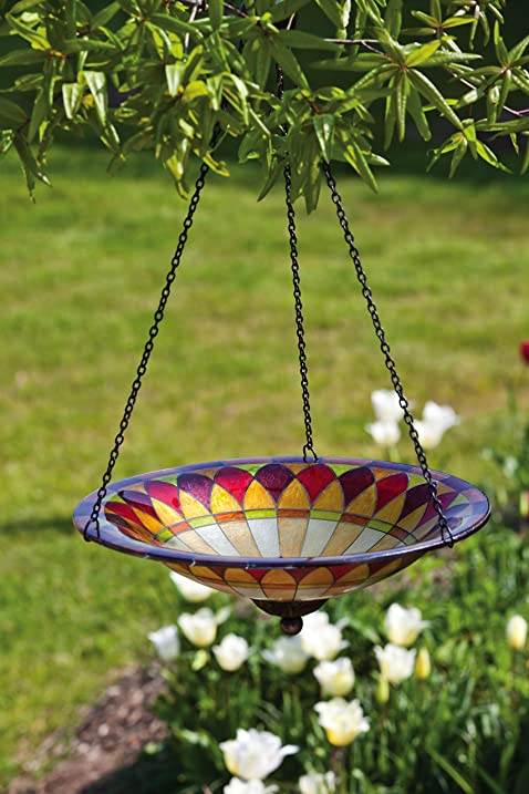 Evergreen Tiffany Inspired Hanging Glass Bird Bath Bowl   13.5u201dL X  13.5u0026quot;