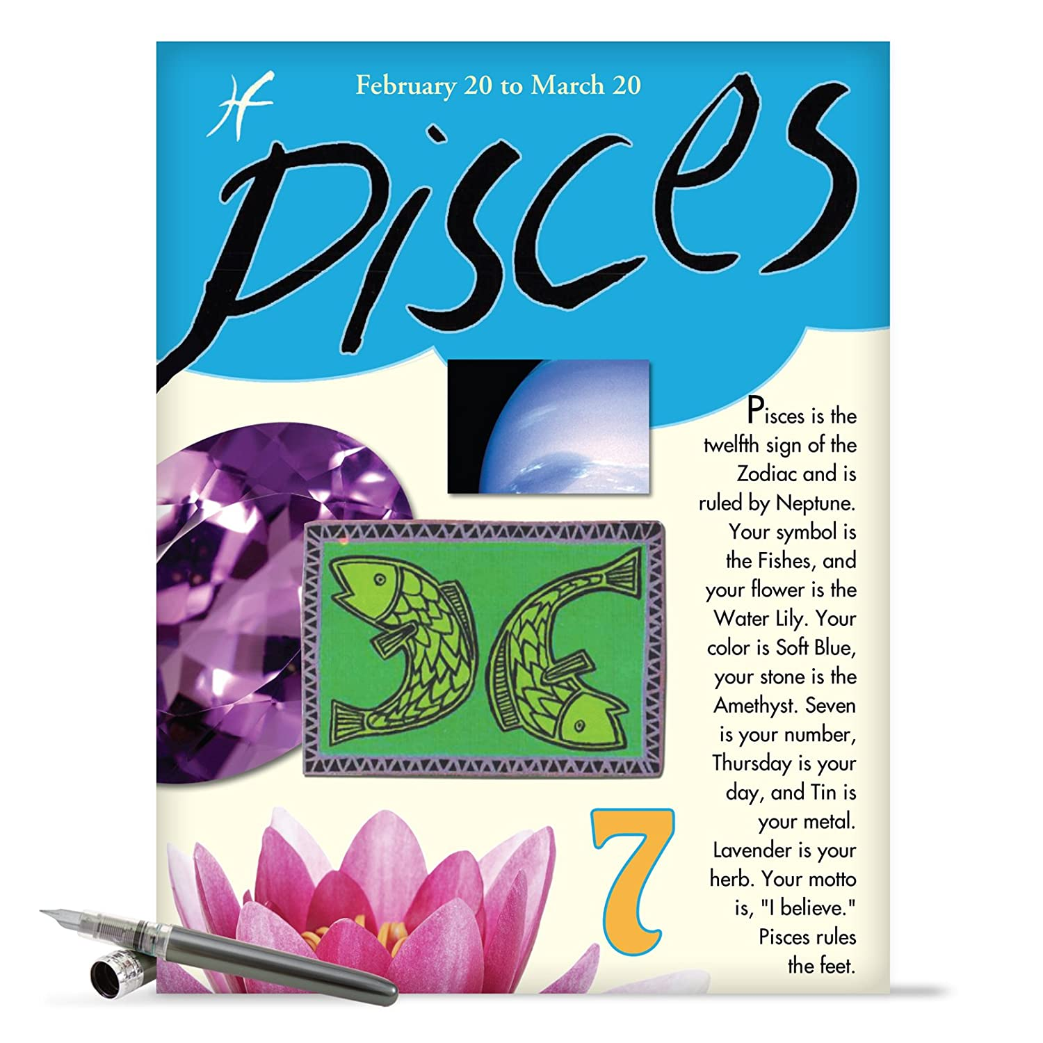 Amazon J9441 Pisces Astrological Sign Birthday Card Famous