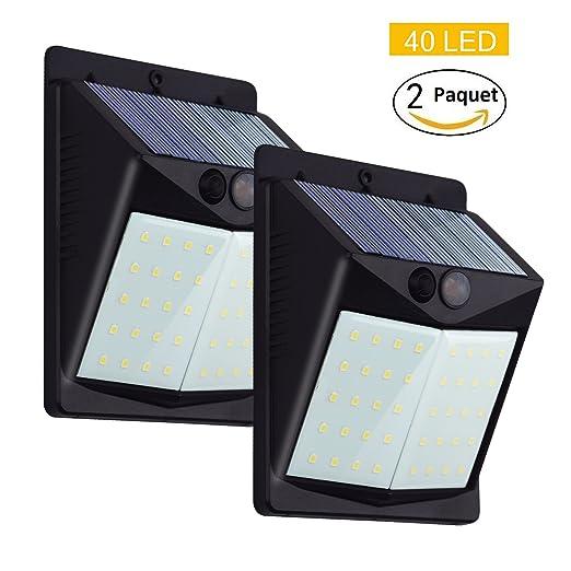 Lampade Solari Da Giardino Amazon.Luce Solare Da Parete Korey 2 Pezzi 40 Led Lampada Solare Con Sensore Di Movimento Wireless Luce Energia Solare Da Esterno Impermeabile 1500mah Luci