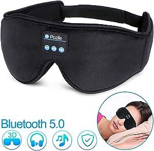 Sleep Headphones Eye Mask, Bluetooth 5.0 Wireless 3D Eye Mask 2020 Updated, Pozlle Sleeping Headphones for Side Sleepers, Washable Travel Music Play Adjustable Speakers Microphone Handsfree Long Play