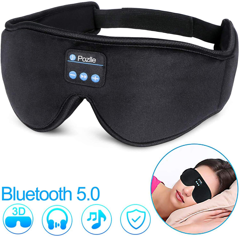 Sleep Headphones Eye Mask, Bluetooth 5.0 Wireless 3D Eye Mask 2019 Updated, Pozlle Sleeping Headphones for Side Sleepers, Washable Travel Music Play Adjustable Speakers Microphone Handsfree Long Play