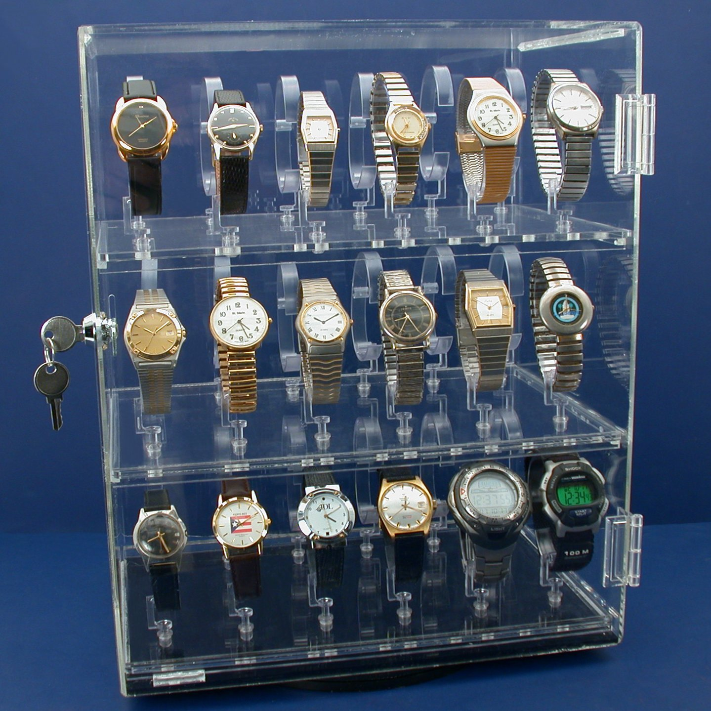 Rotating Revolving Watch Display Case Counter 4 Shows 15 1/4'' New