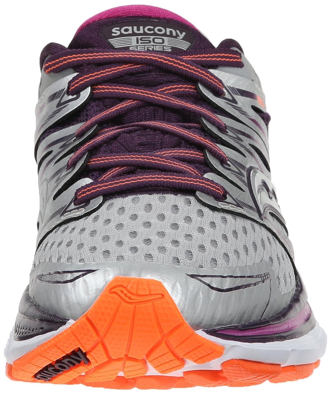 Saucony Women's Triumph ISO B(M) Running Shoe B00PIVSVPM 11 B(M) ISO US|Silver/Purple/Orange 56b015