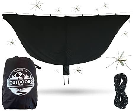 The Outdoors Way Hammock Mosquito Net – 11 Foot Bug Net Fits Any Hammock – Perfect to Keep Mosquitoes Noseeums Out Easy to Set Up Lightweight Attached Carry Pouch. Performance Delivered.