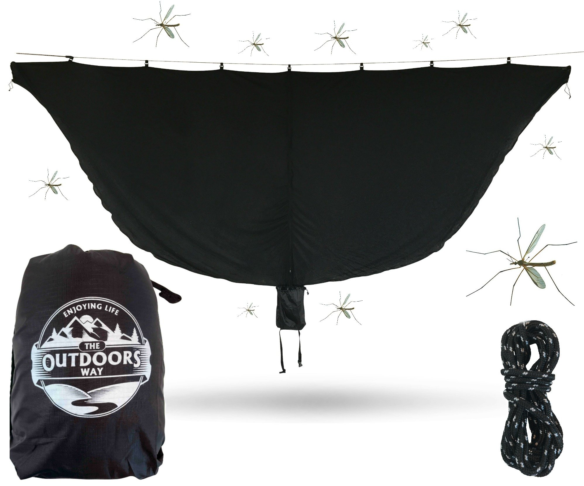 The Outdoors Way Hammock Mosquito Net - 11 Foot Bug Net Fits Any Hammock - Perfect To Keep Mosquitoes & Noseeums OUT! Easy To Set Up + Lightweight + Attached Carry Pouch. Performance Delivered.