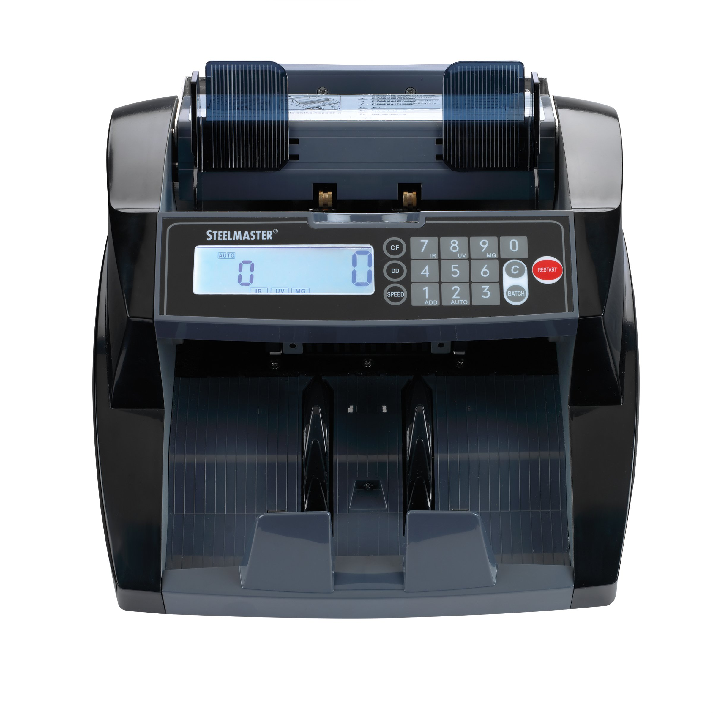 Steelmaster Premium Front-Loading Bill Counter with UV, MG, IR Counterfeit Detection, Black (4850)
