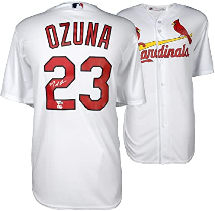 new concept e75c9 9949f Marcell Ozuna St. Louis Cardinals Autographed Majestic White ...