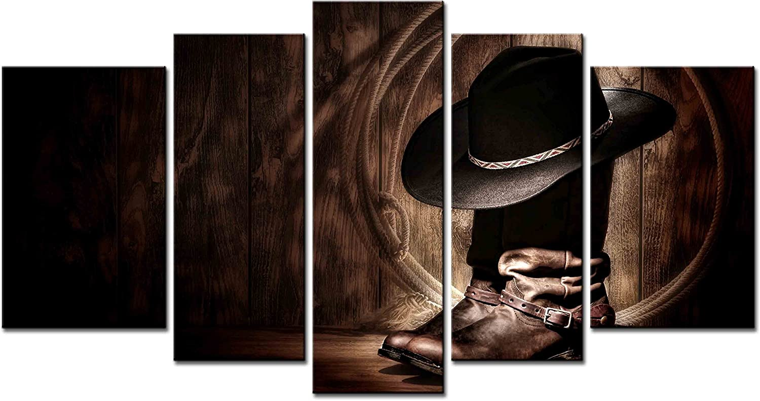 Smartwallart Figure Series Home Decor Artwork American West Rodeo Cowboy Hat And Boots Wall Art 5 Piece Paintngs Print On Canvas Framed For Living Room Posters Prints