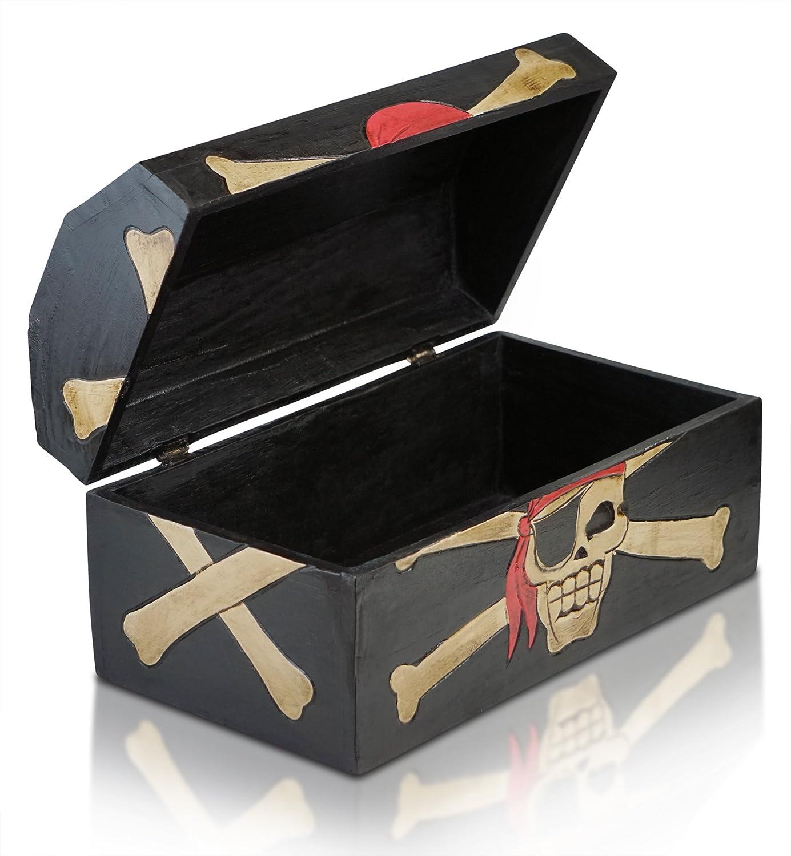 Hecha a Mano Negro, S 24x12x13cm Brynnberg Caja de Madera Cofre del Tesoro Pirata