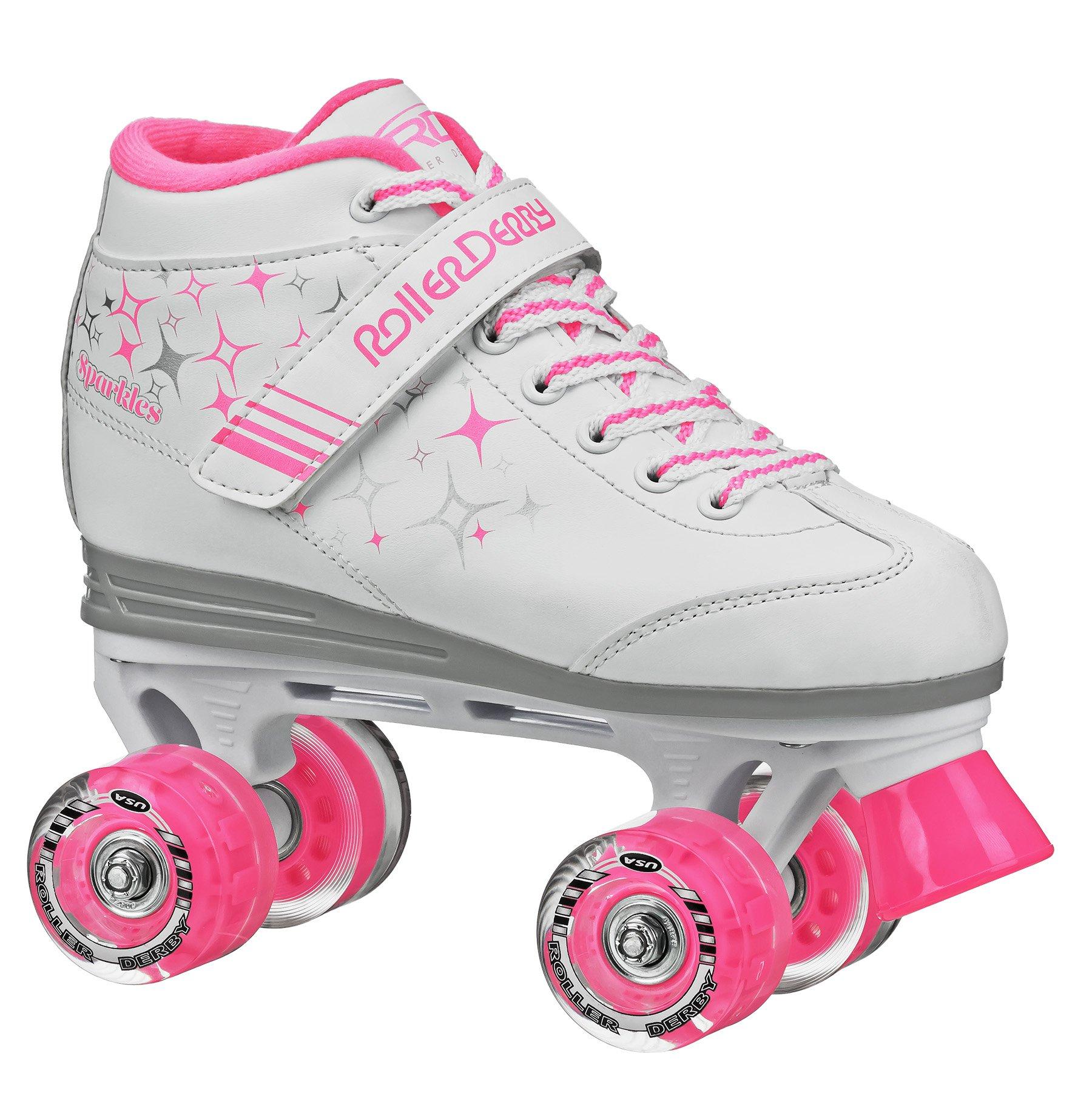 Roller Derby Girls Sparkle Lighted Wheel Roller Skate, White, Size 1