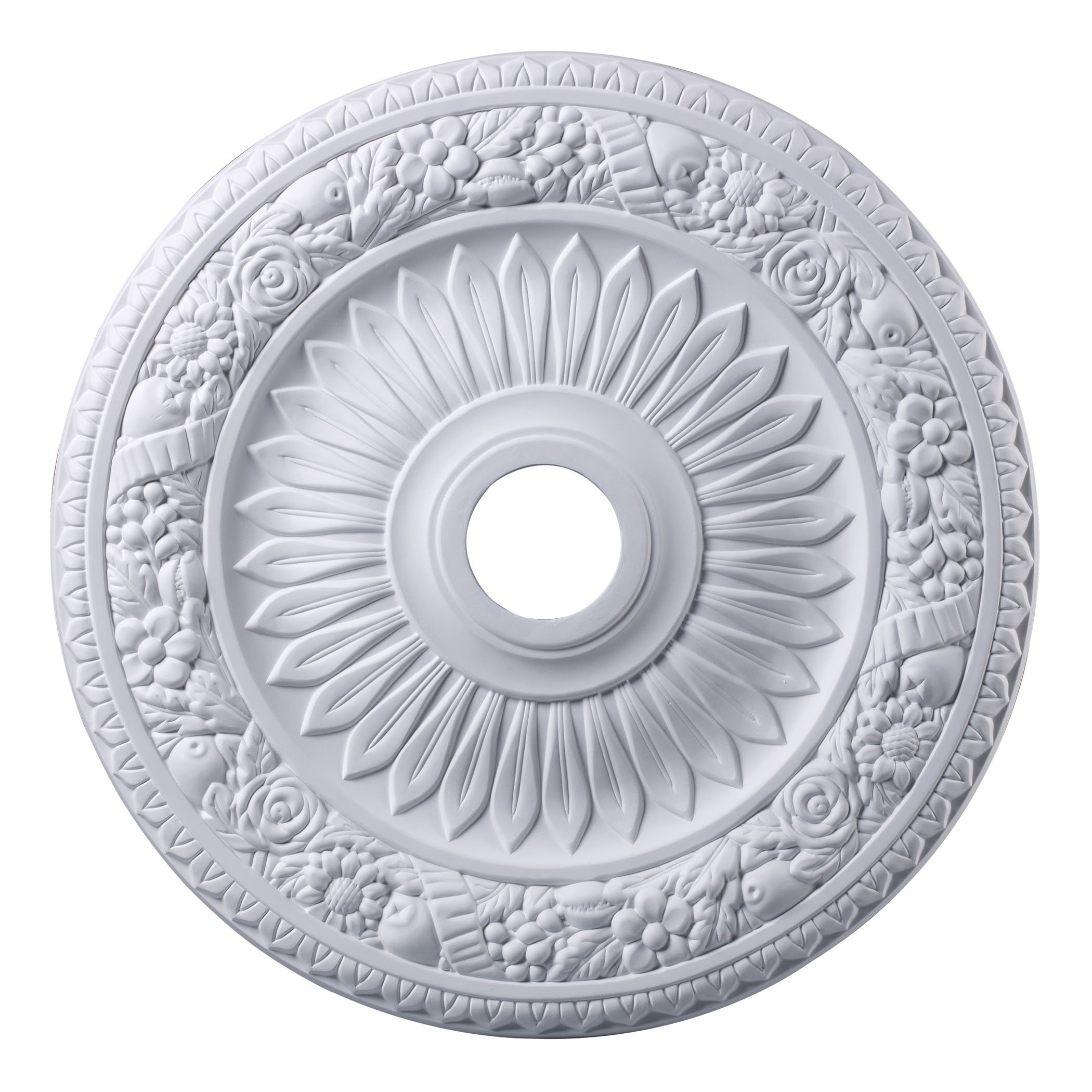 Elk M1006WH Floral Wreath Ceiling Medallion, 24-Inch, White Finish by ELK