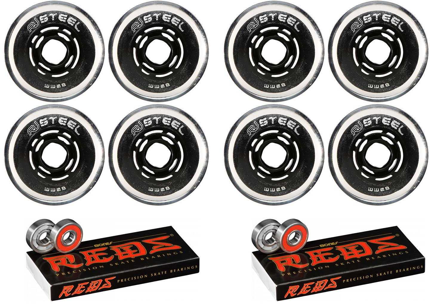 Revision Wheels Roller Hockey Variant Steel 72mm 80A 8-Pack with Bones Bearings