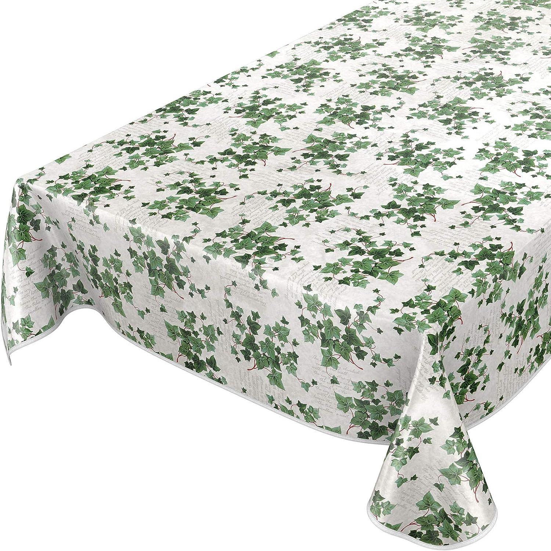 Anro - Mantel de hule lavable, diseño de flores, 95% PVC, 5% poliéster., Para jardín verde., 120 x 160cm mit Saum