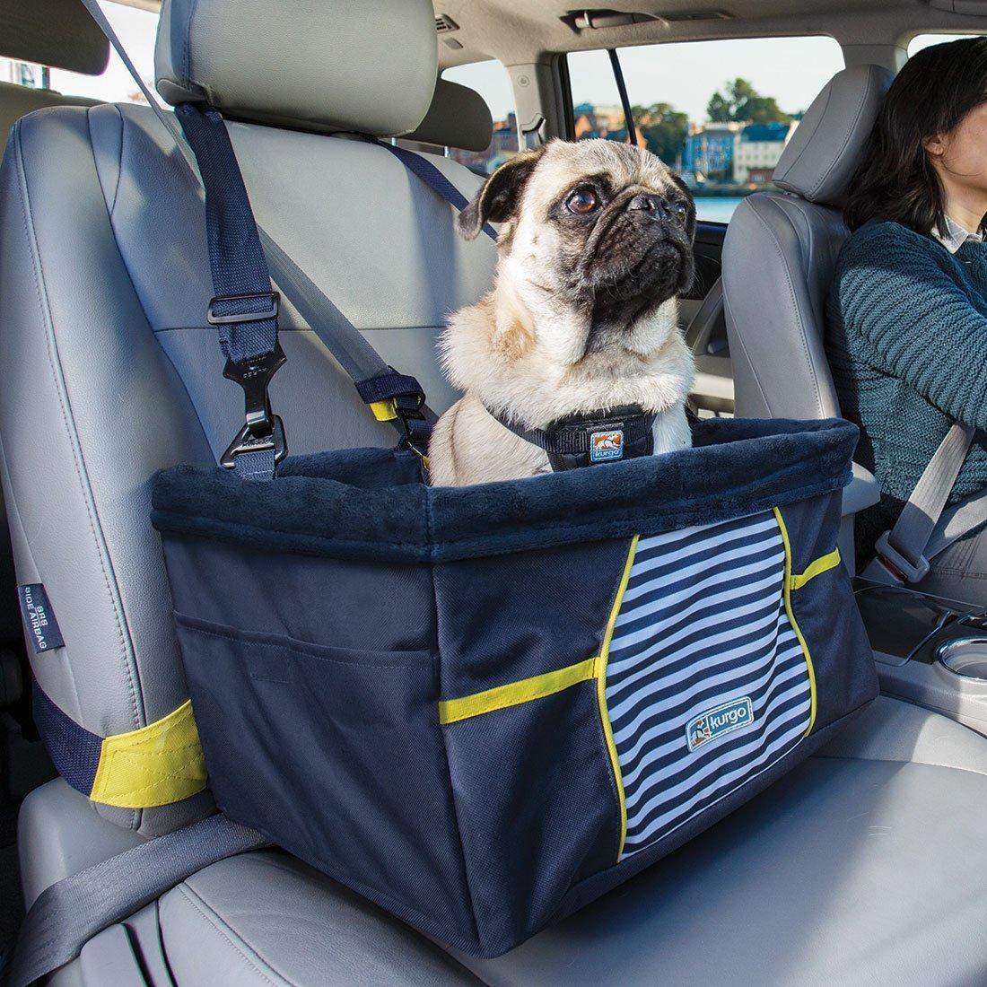 Kurgo Nantucket Dog Booster Seat for Cars, Dog Car Seat, Pet Booster Seat – Comes with Seat Belt Tether, Navy Blue
