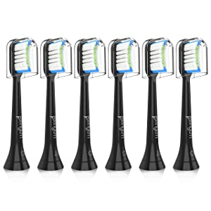 Senyum Replacement Toothbrush Heads,Black Brush Heads Compatible with Philips Sonicare all Snap-on Toothbrushs like DiamondClean,EasyClean, HealthyWhite, Gum Health (6 pack)