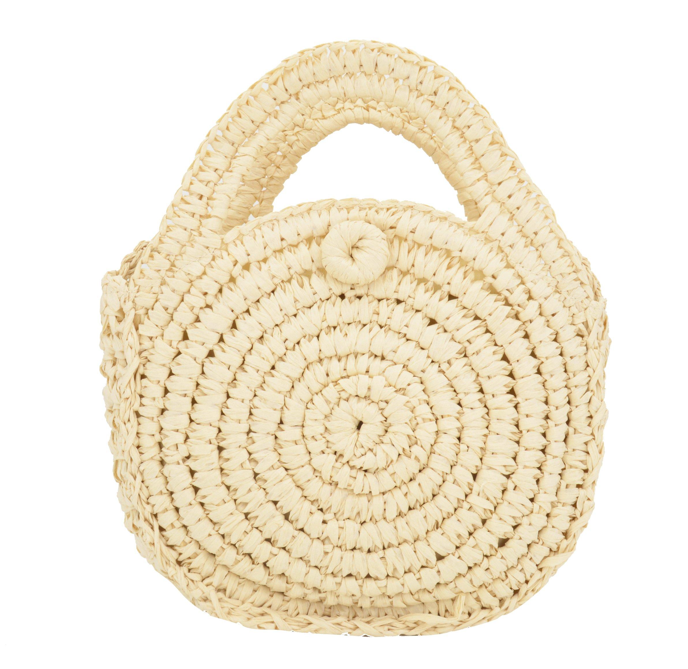 OVOV Women's Straw Crossbody Bag Round Shoulder Bag Purse and Handbags for Summer Beach Sea (Beige)