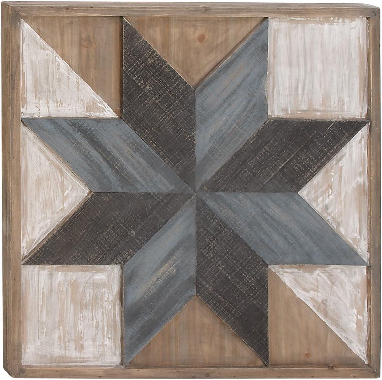 "Deco 79 98717 Farmhouse Geometric Star-Designed Wooden Wall Art, 31"" x 31"""
