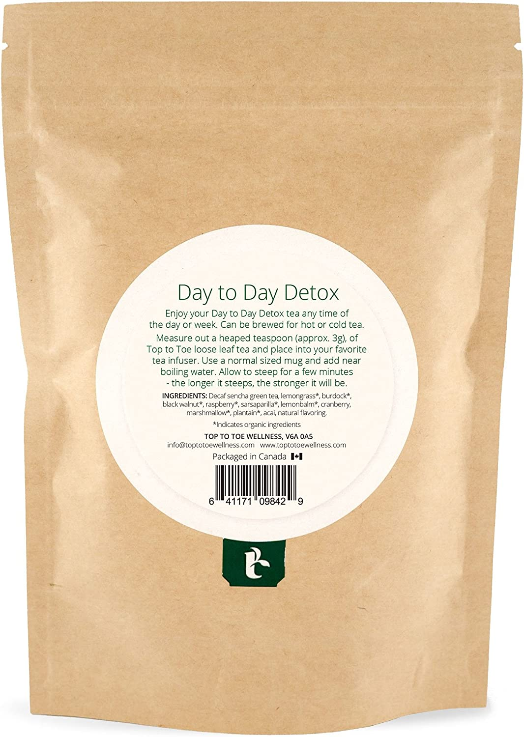 Top to Toe Wellness – Day to Day Detox Tea Best 100 Natural and Organic Weight Loss Tea Cleanses Digestive System, Promotes Slimming Reduces Bloating With Decaf Sencha Loose Leaf 84 grams