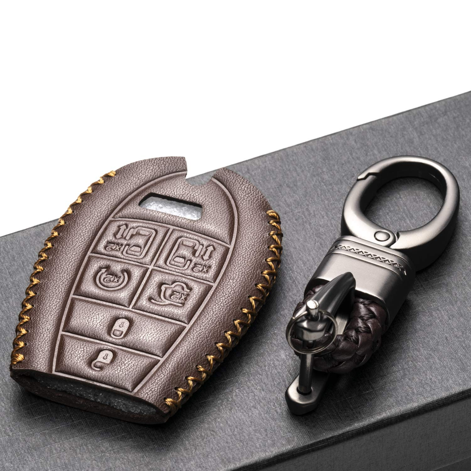 Vitodeco Genuine Leather Smart Key Fob Case Cover Protector with Leather Key Chain for 2008-2018 Dodge Grand Caravan 7-Button, Black