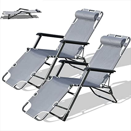 Charmant Purenity Outdoor Lay Flat Patio Reclining Beach Sun Lounge Chair Set Of 2  (Dark Grey