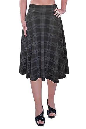 6d378d9ea08 Eyecatch - Womens Plus Size Tartan Check Print Elastic Ladies Knee Length  Skater Flared Skirt