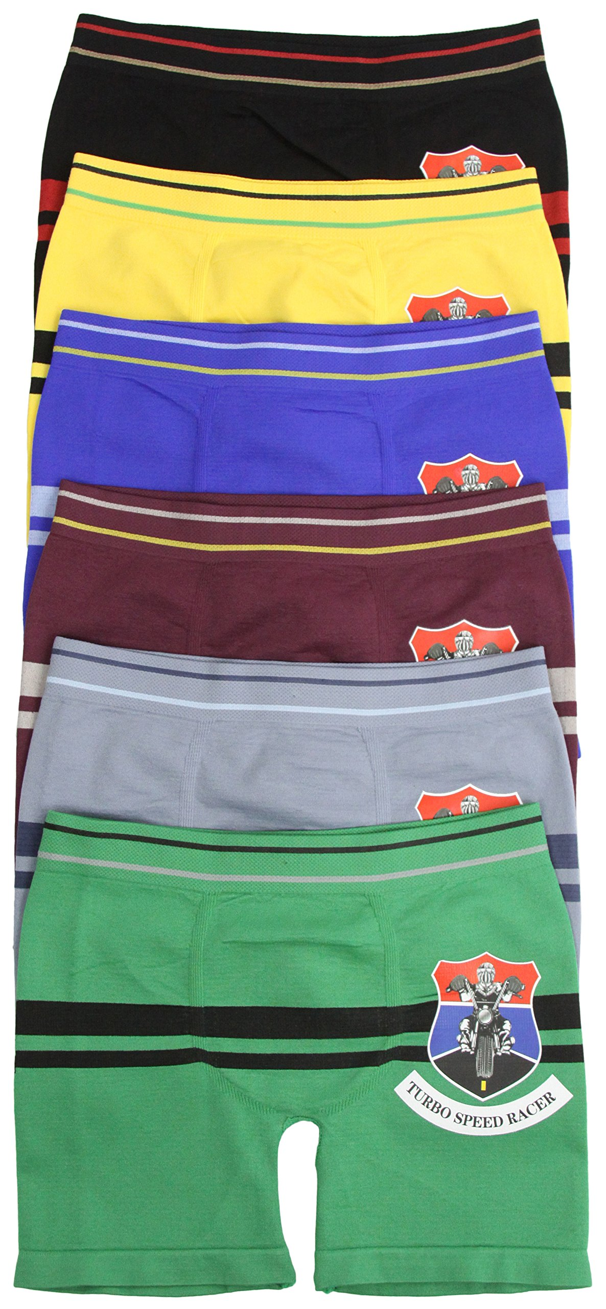 ToBeInStyle Boys Pack of 6 Seamless Turbo Speed Racer Boxer Briefs - Small