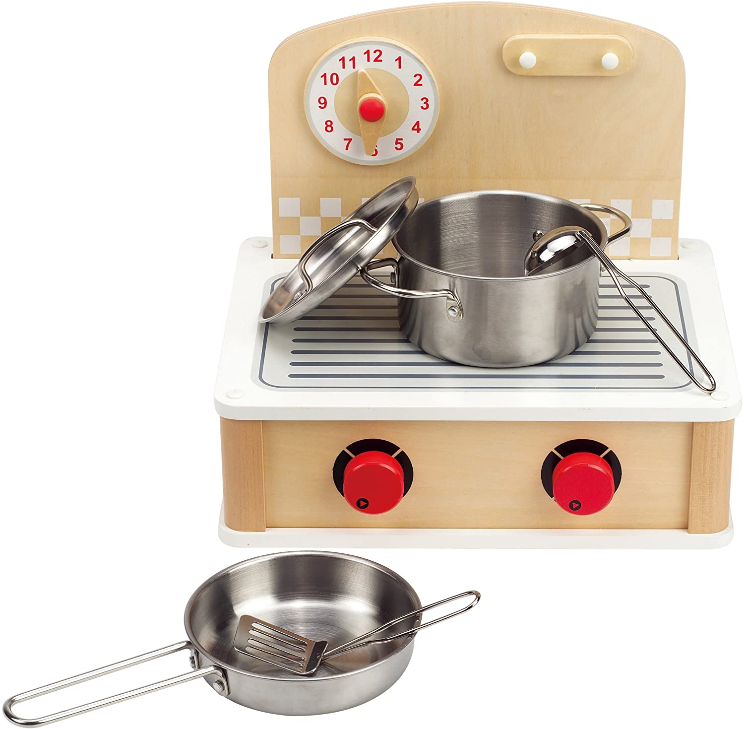 Hape Tabletop Cook and Grill Kid's Wooden Kitchen Play Set with Accessories