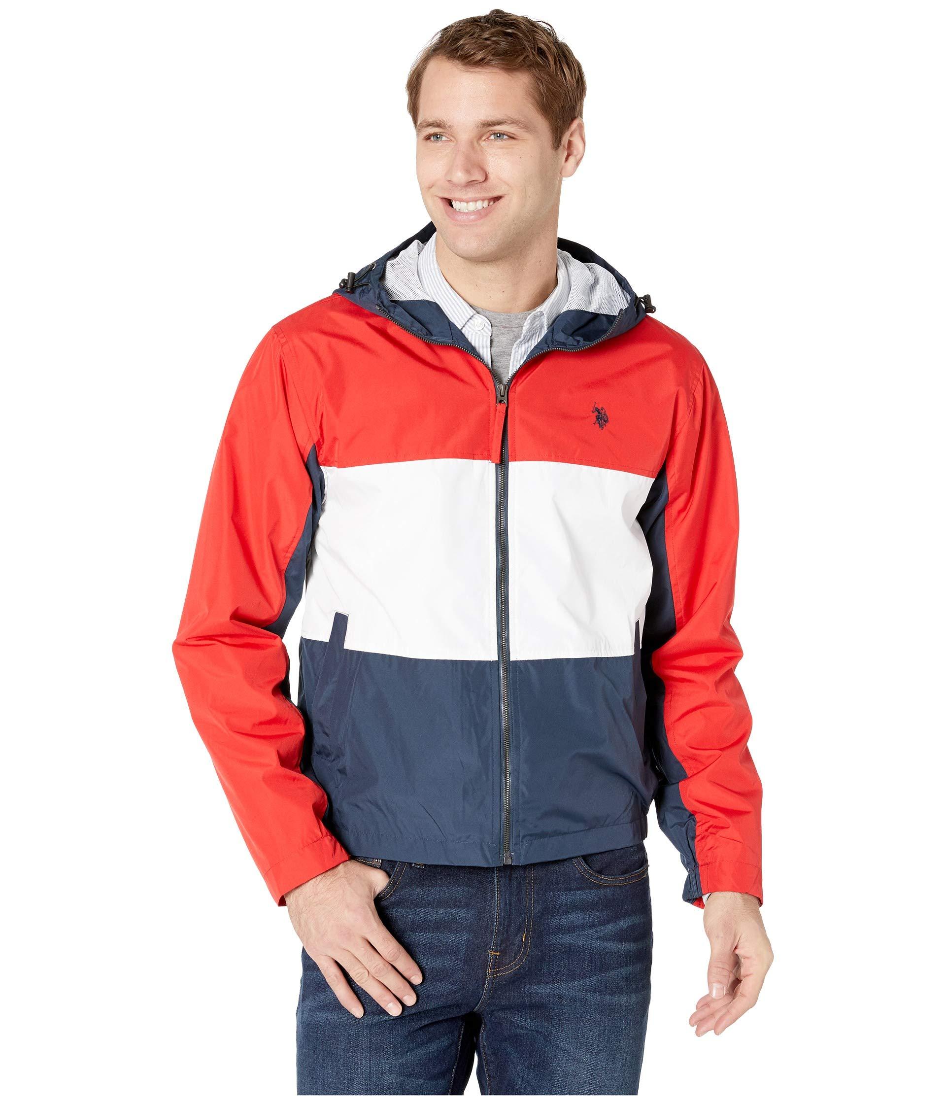 Polo Assn U.S Mens Tri Color Windbreaker Jacket