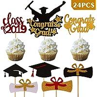 SAVITA Graduation Cupcake Toppers Kit, gorras Congrats Grads para artículos de fiesta 2019 Decoraciones para