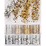 COKOHAPPY 8 Boxes Gold Silver Body Chunky Glitter Makeup, Holographic Flake Cosmetic Sequins Glitter, Ultra-thin Nail Art Iri